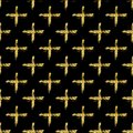 Modern seamless pattern with brush shiny cross. Gold metallic color on black background. Golden glitter texture. Ink Royalty Free Stock Photo