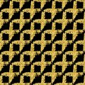Modern seamless pattern with brush shiny cross plaid. Gold metallic color on black background. Golden glitter texture Royalty Free Stock Photo