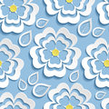 Modern seamless pattern with 3d flowers sakura and leaves