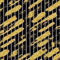Modern seamless pattern with glitter brush stripes and strokes. Golden, white color on black background. Hand painted Royalty Free Stock Photo