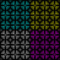 Modern seamless pattern vector patterns presented in four color variations on a black background Stock Photography