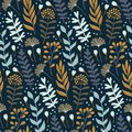Modern seamless pattern with wild floral elements. Hand drawn flowers.