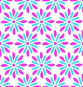 Modern seamless pink and blue flower doodle pattern