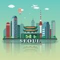 Modern Seoul City Skyline Design. South Korea
