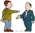 Modern shakehand two men agreeing on deal in different ways Stock Images