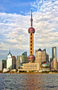 Modern Shanghai skyline with tower at sunset Royalty Free Stock Photos