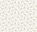 Modern simple geometric vector seamless pattern with gold line texture on white background. Light abstract wallpaper Royalty Free Stock Photo