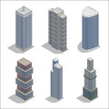 Modern Skyscrapers. Isometric Building Construction Royalty Free Stock Photo