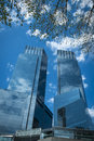 Modern skyscrapers in new york city glass and steel Stock Photos