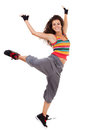 Modern slim hip-hop style woman dancer Stock Images
