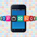 Modern smart phone internet icons technology vector illustration Royalty Free Stock Image
