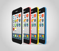 Modern smartphone different colors vector illutration Royalty Free Stock Image