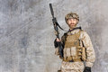 Modern soldier in military uniform with rifle Stock Photos