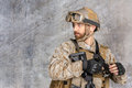 Modern soldier in uniform with gun Stock Photography