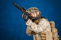 Modern soldier in uniform with gun Royalty Free Stock Images