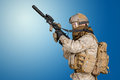 Modern soldier in uniform with rifle Royalty Free Stock Photos