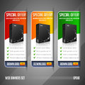 Modern Special Offer Web Banner Set Vector Colored: Red, Yellow, Orange, Green. Website Showing Product Box Royalty Free Stock Photo