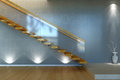 Modern stair from wood and glass railing d empty interior scene with lights Stock Photography