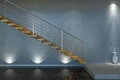 Modern stair from wood and metal d interior scene with lights Stock Images