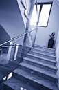 Modern stairs blue tone abstract made of marble steel and glass image Stock Photography
