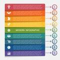 Modern strips infographics 9 options banner