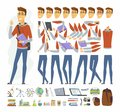 Modern student - vector cartoon people character constructor Royalty Free Stock Photo