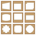 Modern style of classic wooden frames edge square for image decorative d vector set Stock Images