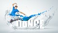 Modern style dancer jumping and the word dance illustration Stock Images