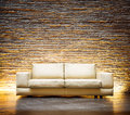 Modern style interior design leather beige sofa Royalty Free Stock Image
