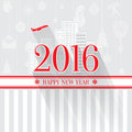 Modern style red gray color scheme new year greetings card on light gray background with elements houses apartments and city Stock Photography