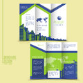 Modern style tri fold brochure template for business advertising with buildings elements Royalty Free Stock Image