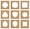 Modern style of wood frames for picture image gallery collection photo d vector set Stock Image