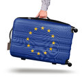 Modern suitcase European Union flag Royalty Free Stock Photo