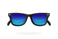 Modern sunglasses with blue mirror lenses
