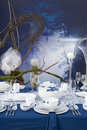 Modern table setting at night Royalty Free Stock Images