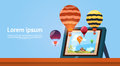 Modern Tablet Computer With Colorful Air Balloons Flying In Sky Image