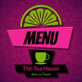 Modern tea house menu card design template or cafe dark vector background with hand drawn pattern cup and slice of lemon Stock Photo