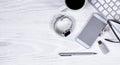 Modern Technologies on white desktop background Royalty Free Stock Photo