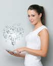 Modern technology a beautiful young woman working on her digital touchpad Royalty Free Stock Photography