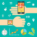 Modern technology equipment for monitoring the health. Smartphone, smartwatch. Blue background