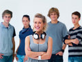 Modern teenagers - happy woman with headphones Royalty Free Stock Images