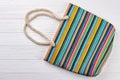 Modern textile beach handbag. Royalty Free Stock Photo