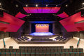 Modern theatre stage view straight on of the in a new Stock Photography