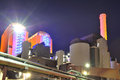 Modern thermal power plant picture of by night in industrial district in frankfurt germany mainova ag is one of the largest Royalty Free Stock Images