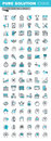 Modern thin line flat design icons set of business, finance and human resources Royalty Free Stock Photo