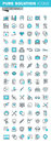 Modern thin line flat design icons set of medical supplies, healthcare diagnosis and treatment