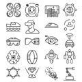 Modern thin line icons set of future technology and artificial intelligent robot