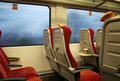 Modern train seats and window Royalty Free Stock Photography