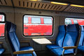 Modern Train Wagon Interior Seats Rows Blue Transportation White Royalty Free Stock Photo