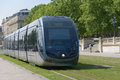 Modern tram in bordeaux france june the center of france on june the ground level power supply was invented by apc Stock Photography